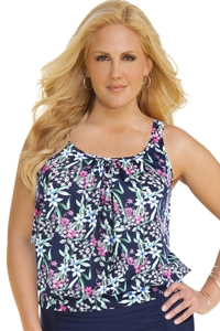 Shape Solver Prairie Dance Plus Size Shirred Blouson Underwire Tankini Top