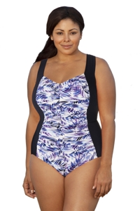 Penbrooke Nautical Fronds and Twin Plus Size Shirred Girl Leg One Piece Swimsuit