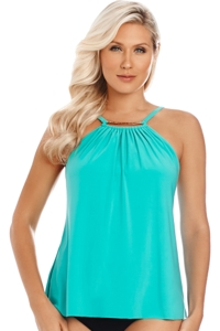 Magicsuit Caribbean Golden Opportunity Marni High Neck Underwire Tankini Top