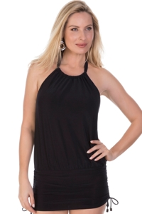 Magicsuit Solid Black Cybil High Neck Halter Underwire Side Tie Blouson Tankini Top