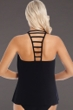 Magicsuit Black Behind Bars Anna Cowl Neck Underwire Ladder Back Tankini Top