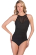 Magicsuit Black Behind Bars Anastasia Mesh High Neck Underwire One Piece Swimsuit