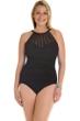Magicsuit Black Anastasia Mesh Plus Size High Neck Underwire One Piece Swimsuit