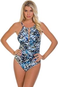 Magicsuit Sea Glass Kat Keyhole High Neck One Piece Swimsuit