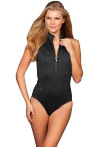 Magicsuit Solid Black Scuba Coco Zip Front Underwire Racerback Scuba One Piece Swimsuit