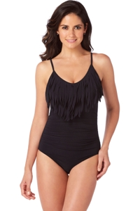 Magicsuit Black Blaire Fringe Underwire One Piece Swimsuit