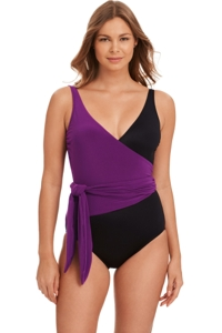 Magicsuit Amethyst Purple and Black Misty Tie Front One Piece Swimsuit