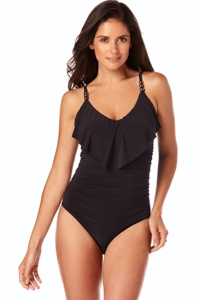 Magicsuit Black Isabel Ruffle Underwire One Piece Swimsuit