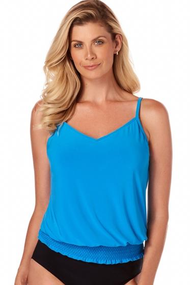Magicsuit Azure Blue Justina Blouson Tankini Top
