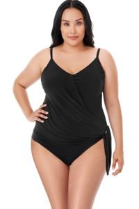 Magicsuit Black Plus Size Side Tie V-Neck Alex Underwire Tankini Top