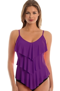 Magicsuit Amethyst Purple Rita Triple Tier Tankini Top