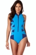 Magicsuit Midnight Azure Scuba Blake Zip Front High Neck One Piece Swimsuit