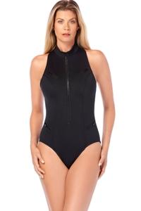 Magicsuit Deep Dive Black Scuba Coco Zip Front Racerback Scuba Underwire One Piece Swimsuit