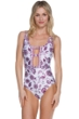 Becca Tahiti Plunge Cut Out One Piece Swimsuit
