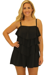 Always For Me Fit 4U Swim Black Plus Size Fit 4 Ur Hips Triple Tiered Bandeau Romper One Piece Swimsuit