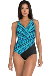 Miraclesuit Blue Night Lights Oceanus Surplice One Piece Swimsuit