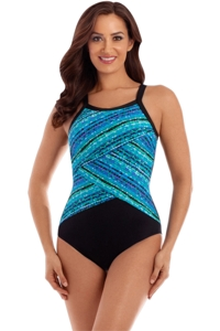 Miraclesuit Night Lights Layered Highneck Underwire One Piece Swimsuit