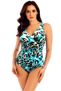 Miraclesuit Skin-NY Oceanus Surplice One Piece Swimsuit