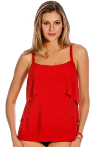 Miraclesuit Red Making Waves Underwire Tankini Top