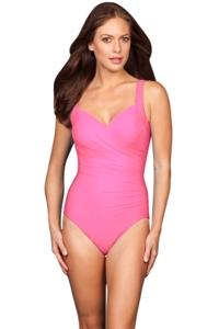 Miraclesuit Pink Sanibel Underwire Surplice One Piece Swimsuit