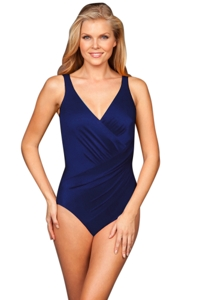 Miraclesuit Navy Oceanus Surplice One Piece Swimsuit