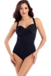 Miraclesuit Solid Black DD-Cup Sanibel Underwire Surplice One Piece Swimsuit