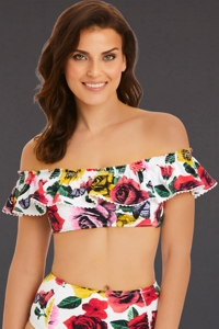 Vera Bradley Yes Way Rose Layla Off Shoulder Bandeau Bikini Top