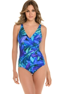 Miraclesuit Flamenco Blue Oceanus Surplice One Piece Swimsuit