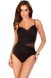 Miraclesuit Black DDD-Cup Mystify Mesh Inset Underwire One Piece Swimsuit