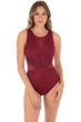 Miraclesuit Illusionist Pompei Red Palma Mesh High Neck One Piece Swimsuit