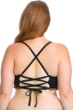 Becca ETC by Rebecca Virtue Black Mardi Gras Bralette Strappy Back Plus Size Bikini Top