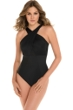 Miraclesuit Black DD-Cup Embrace Mesh Inset Underwire One Piece Swimsuit