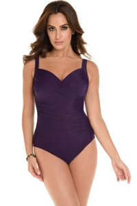 Miraclesuit Plum DD-Cup Sanibel Underwire Surplice One Piece Swimsuit