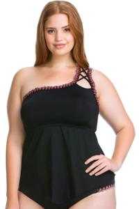 Becca ETC by Rebecca Virtue Black Mardi Gras One Shoulder Strappy Plus Size Tankini Top