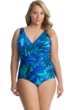 Miraclesuit Plus Size Flamenco Blue Oceanus Surplice One Piece Swimsuit