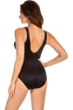Miraclesuit Spectra Black Color Block Trilogy V-Neck One Piece Swimsuit