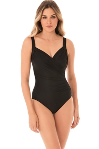 Miraclesuit Black Sanibel Surplice Underwire One Piece Swimsuit