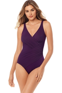 Miraclesuit Sangria Purple Must Have Oceanus Surplice One Piece Swimsuit