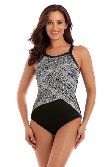 Miraclesuit Castaway Stripe Zephyr High Neck Underwire One Piece Swimsuit