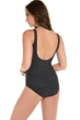 Miraclesuit Black and White Pin Point Oceanus Surplice One Piece Swimsuit