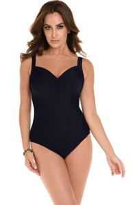 Miraclesuit Black DD-Cup Sanibel Surplice Underwire One Piece Swimsuit