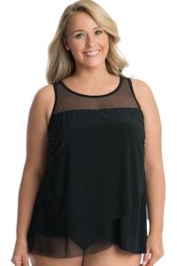 Miraclesuit Illusionist Black Plus Size Mirage Underwire Tankini Top