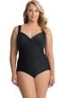 Miraclesuit Black Plus Size Sanibel Surplice Underwire One Piece Swimsuit