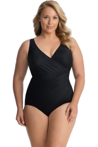 Miraclesuit Black Plus Size Oceanus Surplice One Piece Swimsuit