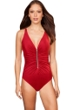 Trimshaper by Magicsuit Ruby Red Zoe Zip Front Shirred One Piece Swimsuit