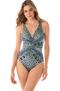 Miraclesuit Monteverde Gold Embellished Charmer One Piece Swimsuit