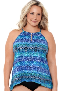 Miraclesuit Blue Curacao Plus Size Peephole Underwire Tankini Top