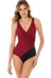 Miraclesuit Pompei Red Oceanus Surplice One Piece Swimsuit