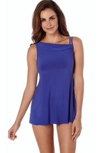 Trimshaper by Magicsuit Cobalt Blue Brianna High Neck Tie Side One Piece Swimsuit