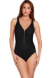 Trimshaper by Magicsuit Black Zoe Zip Front Shirred One Piece Swimsuit